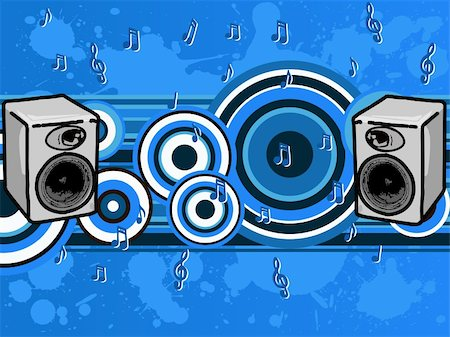 simsearch:400-04454583,k - Music Blues - Speakers and music notes (Vector Graphic) Stock Photo - Budget Royalty-Free & Subscription, Code: 400-04450725