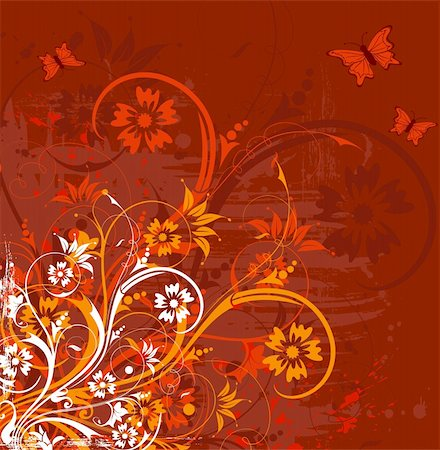simsearch:400-03995944,k - Grunge paint floral background with butterfly, element for design, vector illustration Stock Photo - Budget Royalty-Free & Subscription, Code: 400-04453290