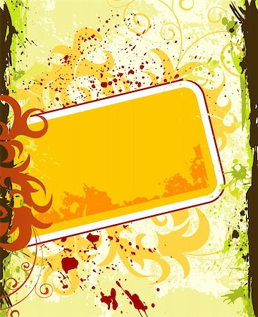 simsearch:400-03995944,k - Grunge paint flower frame, element for design, vector illustration Stock Photo - Budget Royalty-Free & Subscription, Code: 400-04453486