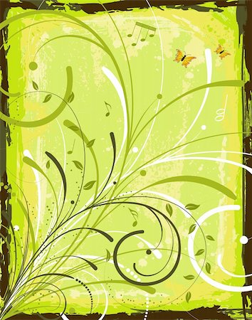 simsearch:400-03995944,k - Grunge paint flower background with butterfly, element for design, vector illustration Stock Photo - Budget Royalty-Free & Subscription, Code: 400-04453534
