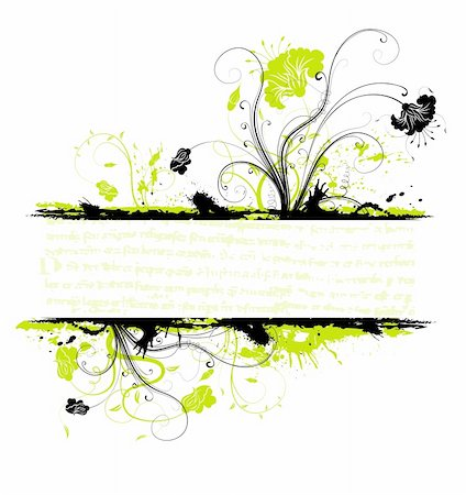 simsearch:400-03995944,k - Grunge paint flower frame, element for design, vector illustration Stock Photo - Budget Royalty-Free & Subscription, Code: 400-04453606
