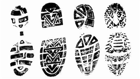 pokerman (artist) - 4 Isolated BootPrints - Highly detailed vector of walking shoes Stock Photo - Budget Royalty-Free & Subscription, Code: 400-04464868