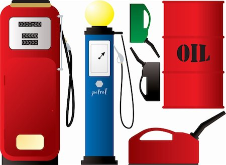 Illustration of an old fashioned petrol pump and canister Stock Photo - Budget Royalty-Free & Subscription, Code: 400-04465771