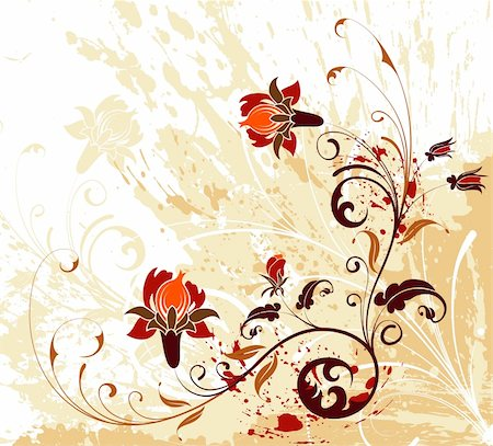 simsearch:400-03995944,k - Grunge paint flower background with splashes, element for design, vector illustration Stock Photo - Budget Royalty-Free & Subscription, Code: 400-04461386