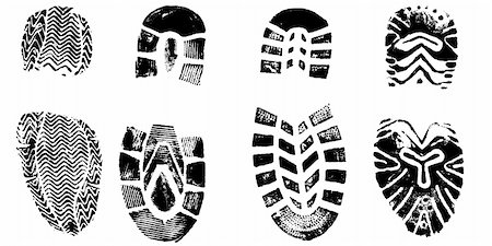 pokerman (artist) - 4 Isolated BootPrints - Highly detailed vector of walking shoes Stock Photo - Budget Royalty-Free & Subscription, Code: 400-04463593