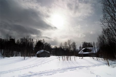 A winter night cabin scene Stock Photo - Budget Royalty-Free & Subscription, Code: 400-04470095