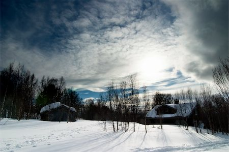 A winter night cabin scene Stock Photo - Budget Royalty-Free & Subscription, Code: 400-04470097