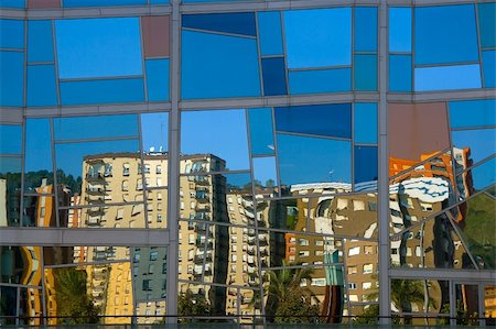Quarter Deusto reflected in the palace euskalduna, Bilbao Stock Photo - Budget Royalty-Free & Subscription, Code: 400-04480206
