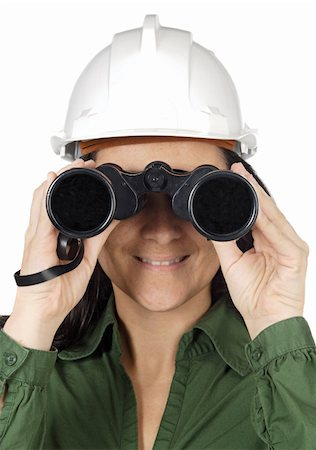 scope - Woman with binoculars and helmet over white background Stock Photo - Budget Royalty-Free & Subscription, Code: 400-04480432