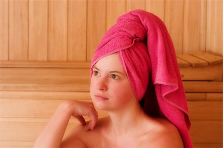 sweaty woman - beautiful young woman is relaxing in sauna Stock Photo - Budget Royalty-Free & Subscription, Code: 400-04494326