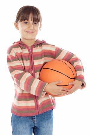 adorable girl whit ball of basketball a over white background Stock Photo - Budget Royalty-Free & Subscription, Code: 400-04497278