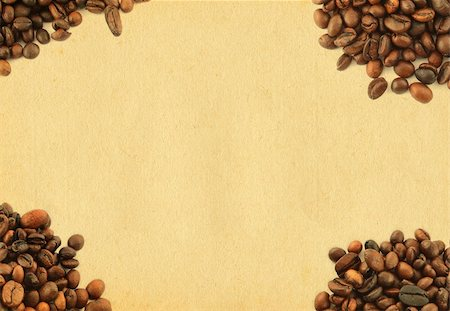 large paper copy space framed by spilled coffee beans Stock Photo - Budget Royalty-Free & Subscription, Code: 400-04498244
