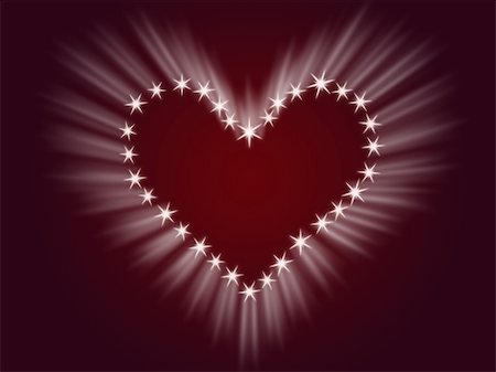 simsearch:400-04863562,k - shining heart drawing by white stars with rays of light Stock Photo - Budget Royalty-Free & Subscription, Code: 400-04498718