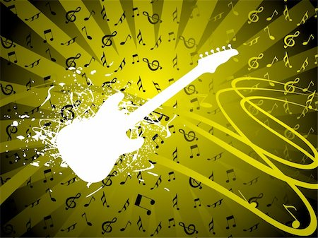 vector illustration of grunge floral musical instrument Stock Photo - Budget Royalty-Free & Subscription, Code: 400-04492184