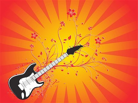 vector illustration of grunge floral musical instrument Stock Photo - Budget Royalty-Free & Subscription, Code: 400-04492182
