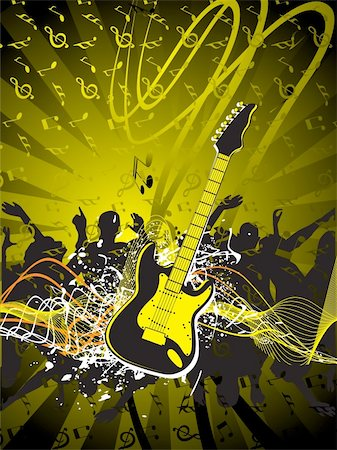 vector illustration of grunge floral musical instrument Stock Photo - Budget Royalty-Free & Subscription, Code: 400-04492199