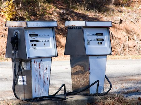 rural gas station - Two old gas pumps Stock Photo - Budget Royalty-Free & Subscription, Code: 400-04500883