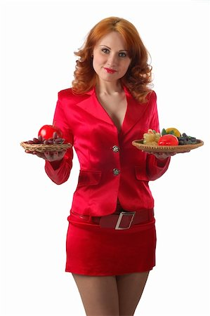 woman in red with lot's of food, isolated on white Stock Photo - Budget Royalty-Free & Subscription, Code: 400-04501661
