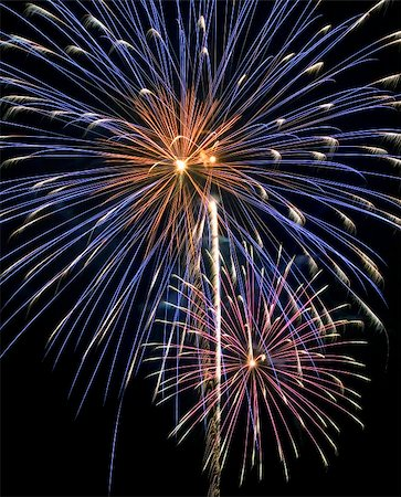 pink and purple fireworks - A great close up of a fireworks finale on the Fourth of July. Stock Photo - Budget Royalty-Free & Subscription, Code: 400-04503678