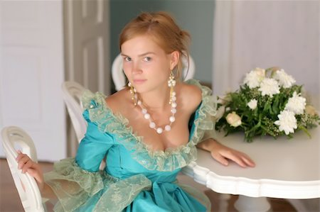 dreef - Aristocratic girl in fancy dress by the table with bouquet of roses - right before ball Stock Photo - Budget Royalty-Free & Subscription, Code: 400-04515189