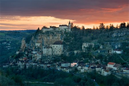 To get dark in the village of Rocamadour (France) Stock Photo - Budget Royalty-Free & Subscription, Code: 400-04517292