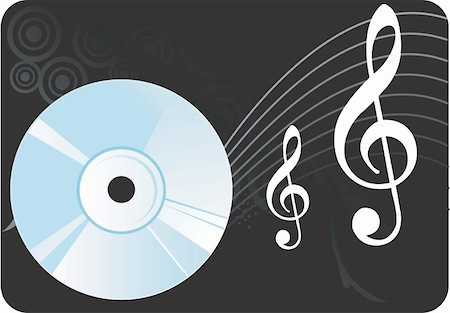 Illustration of a compact disc with music notes Stock Photo - Budget Royalty-Free & Subscription, Code: 400-04512262