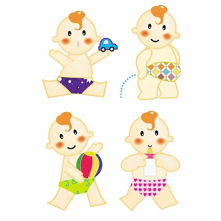 A series of baby action, playing car & ball, pee, drinking milk, vector, illustration Stock Photo - Budget Royalty-Free & Subscription, Code: 400-04513314