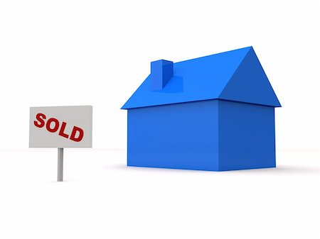 "3d rendered illustration of a simple blue house and a ""sold"" sign Stock Photo - Budget Royalty-Free & Subscription, Code: 400-04513424"