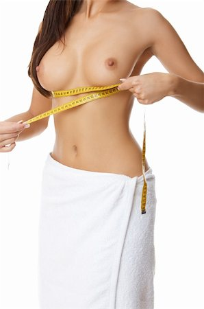 Woman measuring her body Stock Photo - Budget Royalty-Free & Subscription, Code: 400-04527105