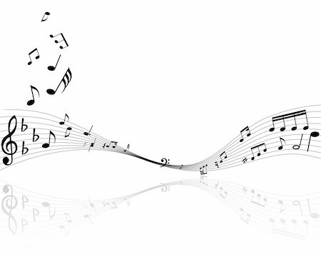 swirling music sheet - Musical notes background with lines. Vector illustration. Stock Photo - Budget Royalty-Free & Subscription, Code: 400-04528152