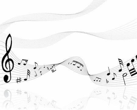 swirling music sheet - Musical notes background with lines. Vector illustration. Stock Photo - Budget Royalty-Free & Subscription, Code: 400-04529034