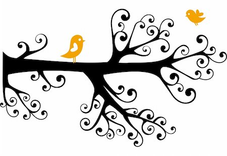 swirly - ornamental tree with swirly branches and birds Stock Photo - Budget Royalty-Free & Subscription, Code: 400-04529389