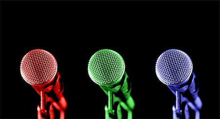 primary colored microphones on black Stock Photo - Budget Royalty-Free & Subscription, Code: 400-04523929