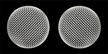 twin microphones close-up on black Stock Photo - Budget Royalty-Free & Subscription, Code: 400-04523940