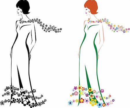 silhouette flower lady b\w and color view Stock Photo - Budget Royalty-Free & Subscription, Code: 400-04534619