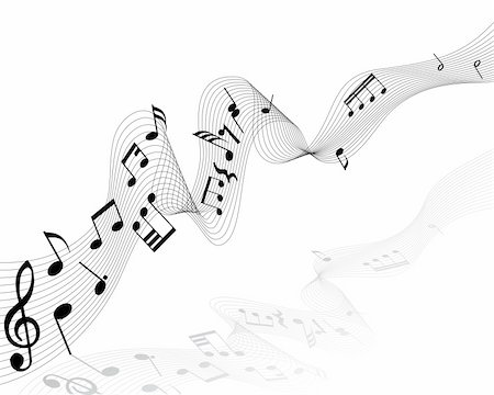 quarter note - Musical notes background with lines. Vector illustration. Stock Photo - Budget Royalty-Free & Subscription, Code: 400-04536300
