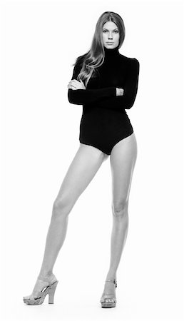 simsearch:400-04096935,k - Portrait of elegant woman wearing black leotard and high-heeled shoes Stock Photo - Budget Royalty-Free & Subscription, Code: 400-04536648