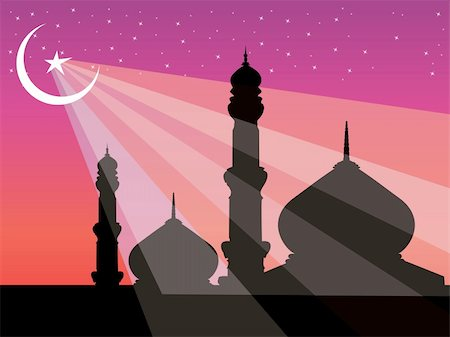 pretty pink star white background - silhouette of mosques in over bright night sky, illustration Stock Photo - Budget Royalty-Free & Subscription, Code: 400-04539728