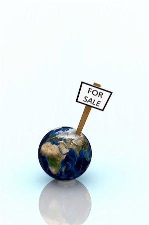 Earth for sale illustration over bright glossy background Stock Photo - Budget Royalty-Free & Subscription, Code: 400-04530248