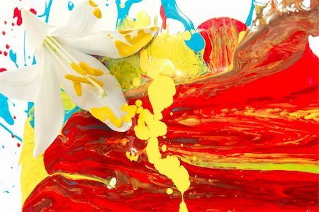pouring paint art - Combination of artificial paints and natural elements Stock Photo - Budget Royalty-Free & Subscription, Code: 400-04530758