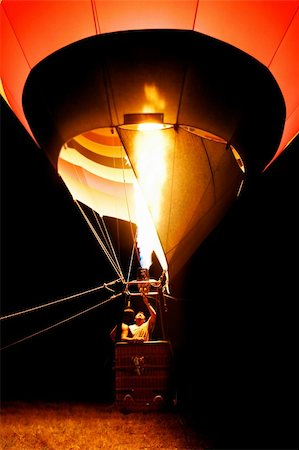 start of hot air balloon at night Stock Photo - Budget Royalty-Free & Subscription, Code: 400-04532321
