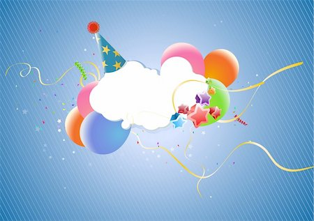 party celebration paper confetti - Colorful Party Balloons, Stars, party hat and Confetti - great for Invitation card for birthdays, anniversary and parties. Stock Photo - Budget Royalty-Free & Subscription, Code: 400-04532693