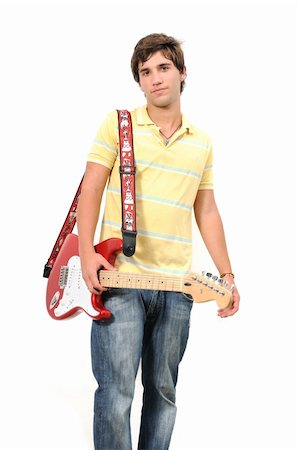 Portrait of young fresh guitarist posing isolated Stock Photo - Budget Royalty-Free & Subscription, Code: 400-04533418