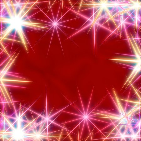 white stars over red background, lights, gleams Stock Photo - Budget Royalty-Free & Subscription, Code: 400-04548373