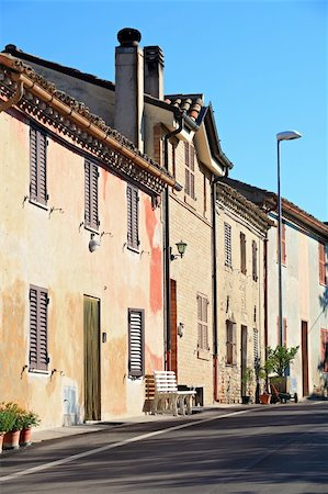 rural Italy - old houses lining a street in early sun Stock Photo - Budget Royalty-Free & Subscription, Code: 400-04548585