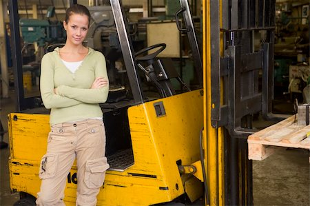 female truck driver - Warehouse worker standing by forklift Stock Photo - Budget Royalty-Free & Subscription, Code: 400-04540954
