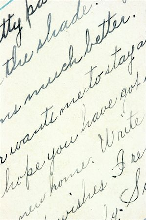 Vintage hand writing on a letter. Old paper with visible structure. Pen ink. Stock Photo - Budget Royalty-Free & Subscription, Code: 400-04541697