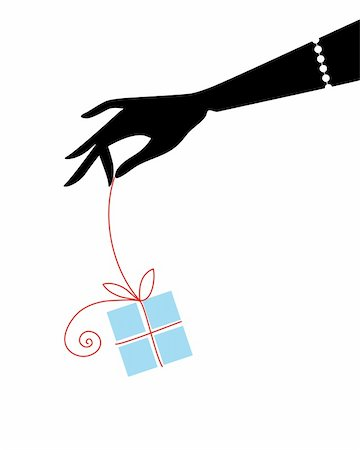 female hand holding blue gift box Stock Photo - Budget Royalty-Free & Subscription, Code: 400-04541775