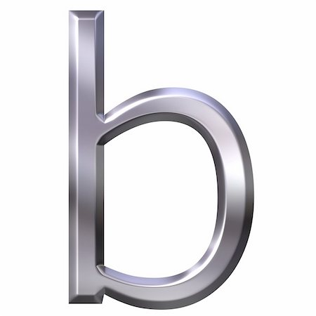 fancy letters - 3d silver letter b isolated in white Stock Photo - Budget Royalty-Free & Subscription, Code: 400-04542898