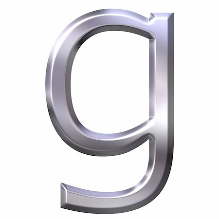 fancy letters - 3d silver letter g isolated in white Stock Photo - Budget Royalty-Free & Subscription, Code: 400-04542900